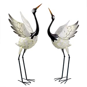 Bits and Pieces -Red Crowned Cranes Metal Garden Sculpture - Set of Two Metal Cranes for Home and Garden Décor - Metal Garden Art, Outdoor Lawn and Patio Decor, Backyard Sculpture, and Decoration.