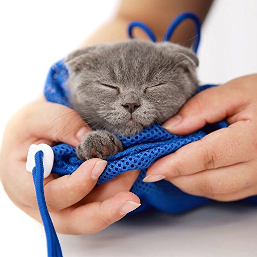 YUSENPET Adjustable Mesh Polyester Cat Pet Bathing Washing Shower Bag for Nail Trimming Ears Cleaning Eyes Dropping Teeth Cleaning Injection Medicine No Scratching Biting - Blue