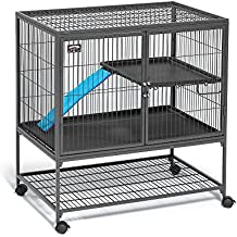 """MidWest Deluxe Ferret Nation Single Unit Ferret Cage (Model 181) Includes 1 Leak-Proof Pans, 1 Shelf, 1 Ramps w/ Ramp Cover & 4 locking Wheel Casters, Measures 36""""L x 25""""W x 38.5""""H Inches"""