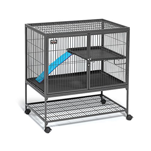 Midwest Deluxe Ferret Nation Single Unit Ferret Cage (Model 181) Includes 1 Leak-Proof Pans, 1 Shelf, 1 Ramps w/Ramp Cover & 4 Locking Wheel Casters, Measures 36″ L x 25″ W x 38.5″ H Inches