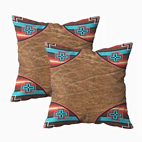 Musesh Pack of 2 tribal print southwest western trim 7000 outdoor Cushions Case Throw Pillow Cover For Sofa Home Decorative Pillowslip Gift Ideas Household Pillowcase Zippered Pillow Covers 16x16Inch (Pillows Batik Outdoor)