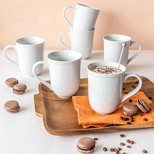 Better Homes and Gardens Porcelain 16 oz Scalloped Mug, White, Set of 6 (Home And Garden Mug)