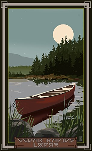 Northwest Art Mall MR-5945 CIM Cedar Rapids Lodge Minnesota Canoe In Moonlight Print by Artist Mike Rangner, 11