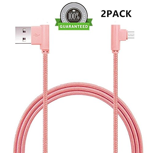 Retractor Clip Mini (FOLICE Micro USB Cable, [2 Pack] Right Angle 90 Degre Nylon Braided Charger Cable for Samsung Galaxy S7/S6/S5/Edge,Note 5/4/3,HTC,LG,Nexus and More (Pink, 6FTx2))