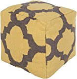 Surya POUF151-181818 100-Percent Wool Pouf, 18-Inch by 18-Inch by 18-Inch, Sunflower/Charcoal