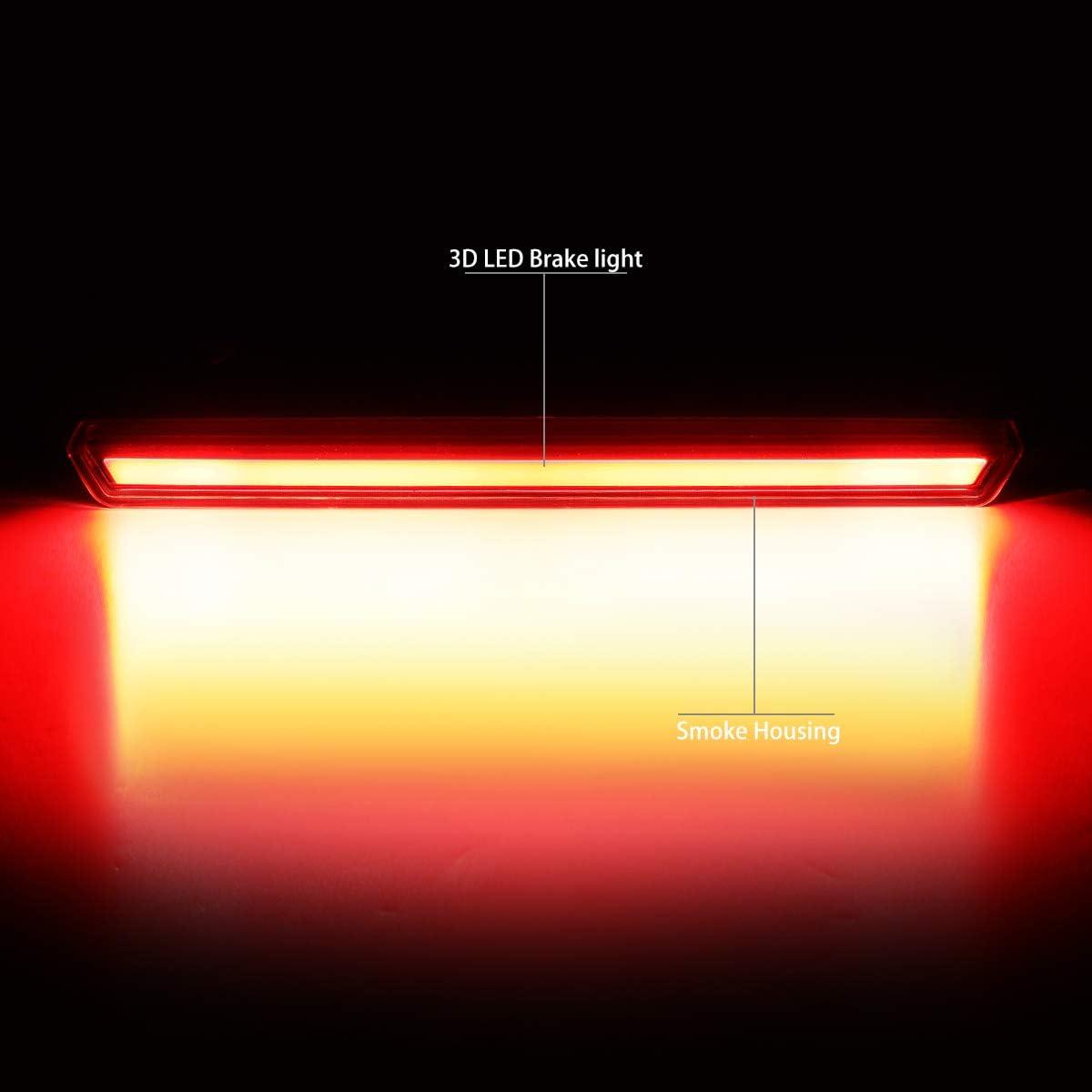 DNA Motoring 3BL-GMCD15-3D-LED-BK-SM 3D LED Bar Tube 3rd Third Tail Brake Light Replacement,Black Smoked
