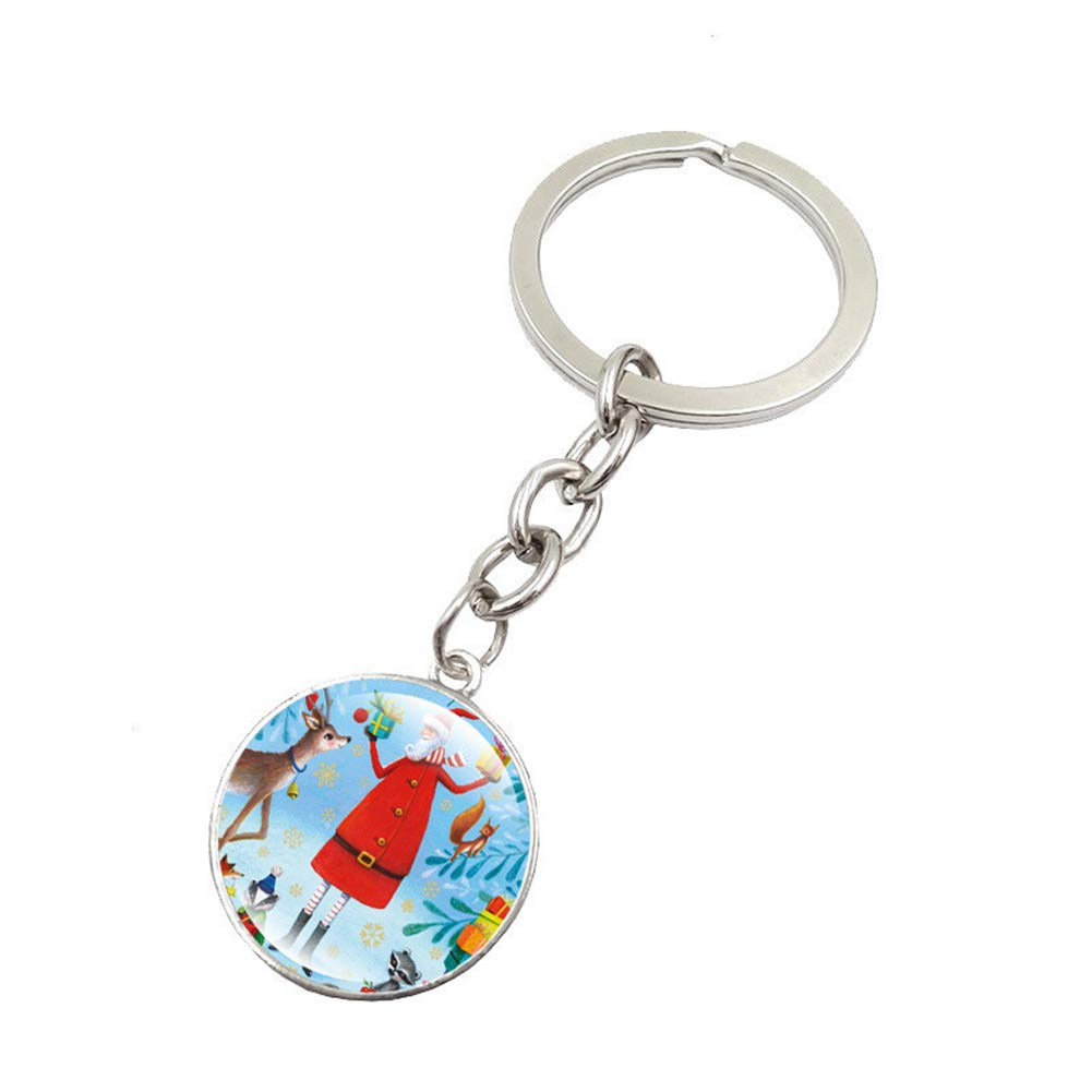 Finance Plan Hot Sale Christmas Pattern Round Glass Pendant Keyring Car Key Chain Handbag Decor Gift 2#