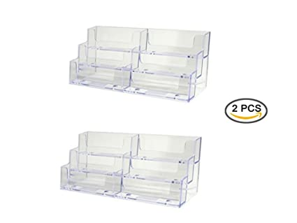 Amazon gbstore 2 pcs deluxe 6 pocket clear business card gbstore 2 pcs deluxe 6 pocket clear business card holder counter top style colourmoves