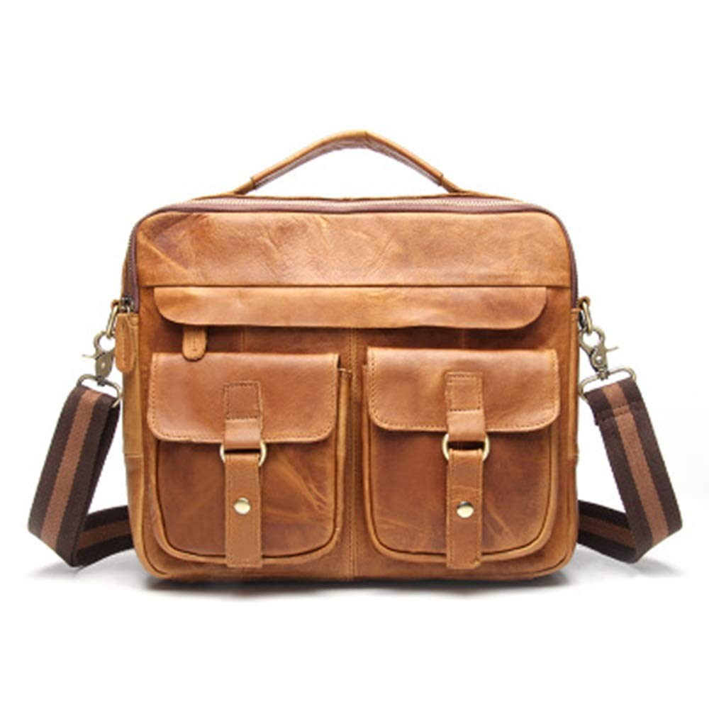 Meet now メンズブリーフケースヨーロッパとアメリカのファッションレトロハンドバッグカジュアルビジネスショルダースリングポータブルレザーバッグ形状ユニークな古典的なオフィスバッグ 品質保証 (Color : 3, Size : M) B07R2K5PVQ