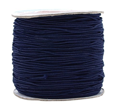 Mandala Crafts 1mm 109 Yards Round Rubber Fabric Covered Elastic Cord, Stretch String for Beading, Jewelry Making, Masks, DIY Crafting (Navy Blue)