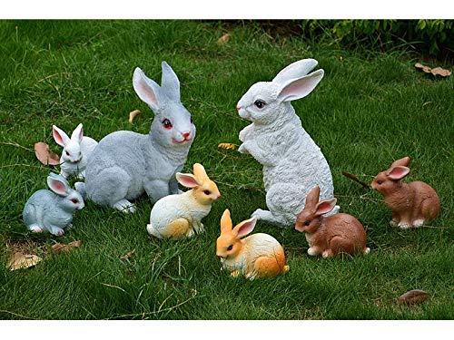 JINGB Garden Fairy Garden Decor 1 Pc Micro Landscape Ornaments Rabbit Miniature (White+Yellow)