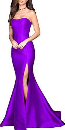 Ladsen Sexy Mermaid High Slit Evening Prom Dresses Purple US0 Size