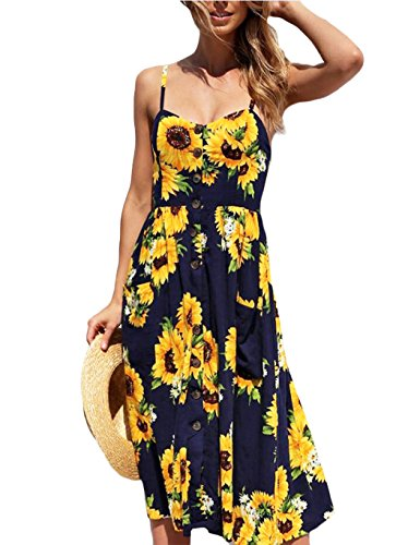Poptem Women's Midi Dress V-Neck Floral Spaghetti Strap Summer Beach Sundresses ()