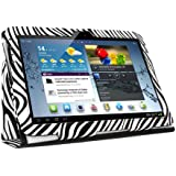KIQ (TM) Zebra Design Portfolio Leather Case Cover for Samsung Galaxy Tab 2 10.1 inch Tablet P5100 with Built in Stand