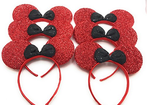 [MeeTHan Set of 6 &12 Mickey Minnie Mouse Christmas Birthday Costume Ears Headband: M9 (M1R-6)] (Slim Jim Halloween Costume)