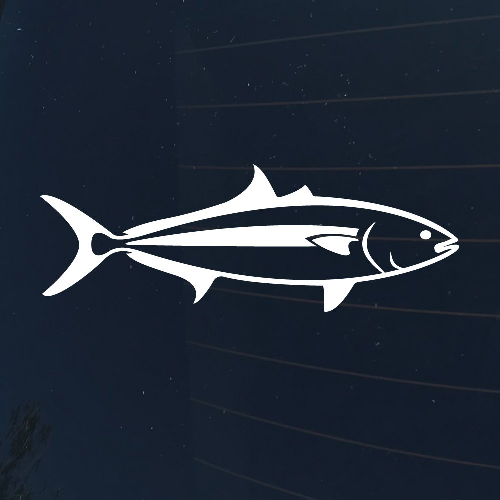 Yellowtail, Hamachi Fish Decal/Transfer Sticker - White - 6 Inches