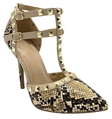 Wild Diva Womens Pointy Toe Gold Stud Strappy Ankle T-Strap Stiletto Heel Pump Sandal (6 M US, Camel Snake) (Diva Snake)