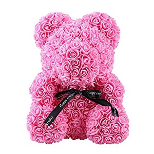 """chiechiee 9.8"""" or 15"""" Artificial Rose Bear-Women Girls Flower Doll Bear Anniversary Valentines Birthday Wedding Party Romantic Doll Gift 25"""