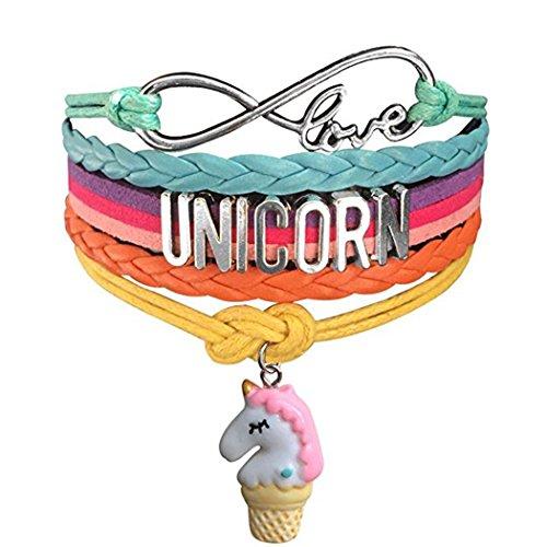 Myhouse Cute Unicorn Bracelet Wristband Handmade Rainbow Jewelry Infinity Love Charm Gifts (Unicorn Pink Ice Cream)