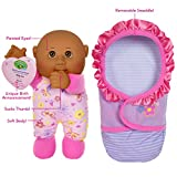Cabbage Patch Kids Official, Newborn Baby African Americal Girl Doll - Comes With Swaddle Blanket and Unique Adoption Birth Announcement