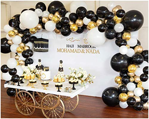 Balloon Garland Arch Kit, Black White Gold Confetti Balloons 101 PCS, Birthday Party Wedding Balloons Decorations, Balloons for Parties, Baby Shower Decorations for Boy Girl -