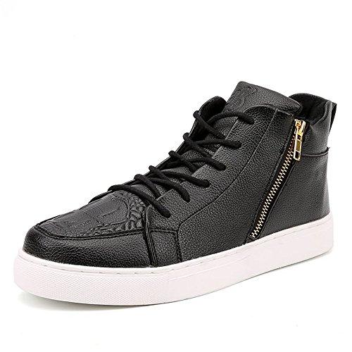 Jiuyue-shoes, Estate/Autunno 2018 Sneakers moda uomo e donna stile casual tinta unita tinta unita tinta unita taglie forti con scarpe da skateboard (Color : Nero, Dimensione : 37 EU)