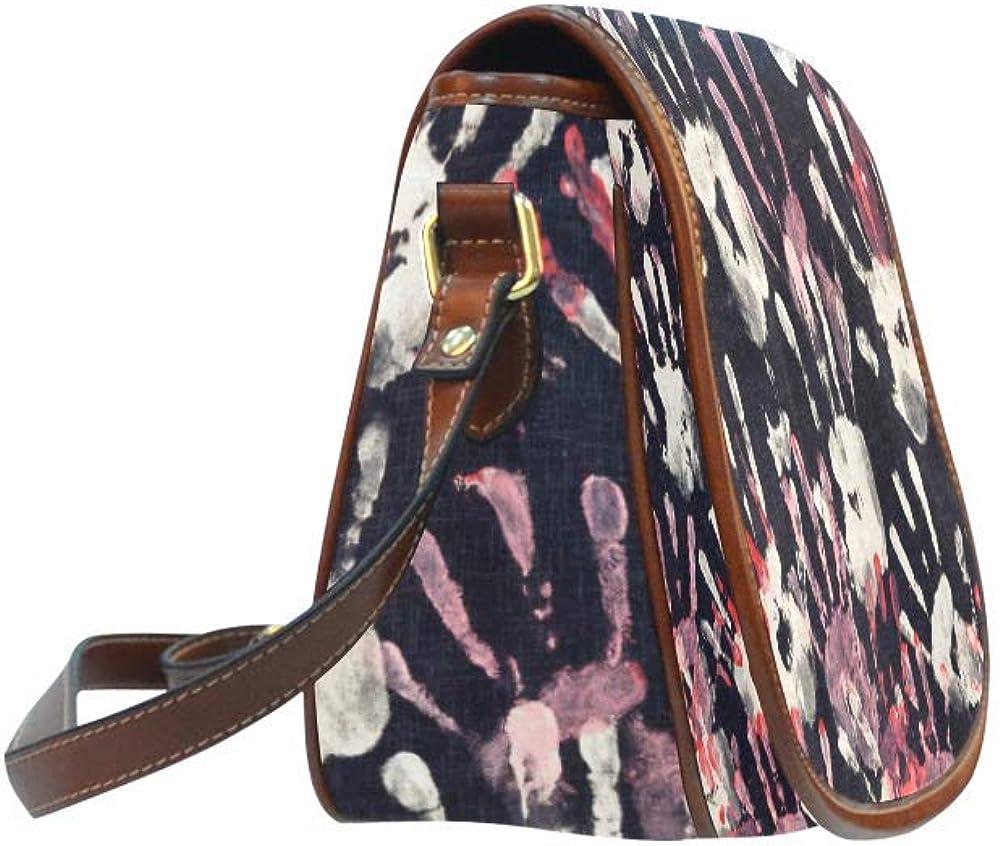 Abstract Fingerprints Oxford Fabric Saddle Bag Crossbody Messenger Shoulder Bag Purse Hand Shoulder Crossbody Bag