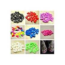 New 20Pcs/Lot Colorful Soft Pet Dog Cats Kitten Paw Claws Control Nail Caps Cover #apowu522# (color: Black,size: XS)