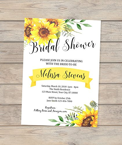Sunflowers Bridal Shower Invitation, Custom Sun Flowers Bridal Shower Invitations, Sunflower Invitation, Summer Sunny Sunflowers Invitation -