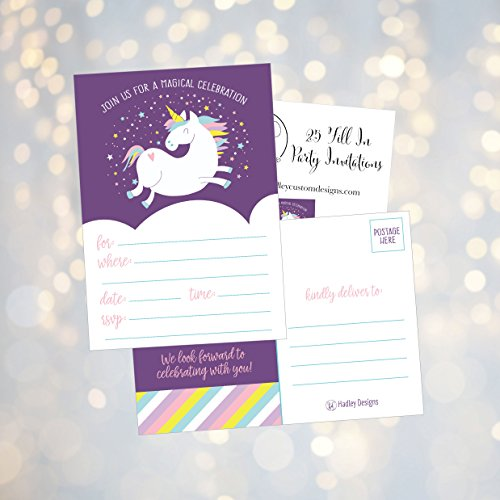 25 Unicorn Rainbow Party Invitations For Kids Teens Adults