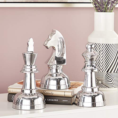 "Deco 79 28367 Large Metallic Silver Decorative Chess Piece Sculptures Table Decor | Set of 3: 4"" x 9"" Each ()"