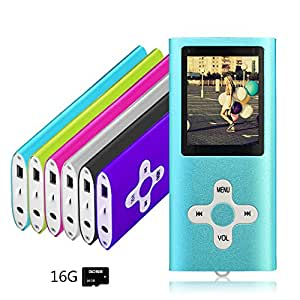 Goldenseller 16GB Mp4 Player Mp3 Player for a Micro SD Card Slot, Portable Videos Player, Media Player, Music Player, Voice Recording Player, With a support of MP3, WMA, JPEG and TXT files (Blue)