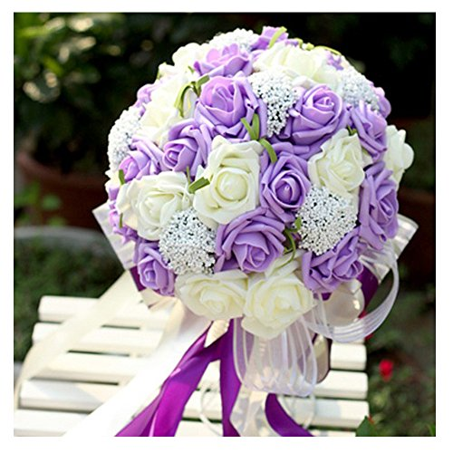 N.L.B Handmade Satin Roses White Bridesmaid Bouquet Crystal Brooch Bridal Wedding Bouquet Decor Mint Artificial Flowers (Lavendar)