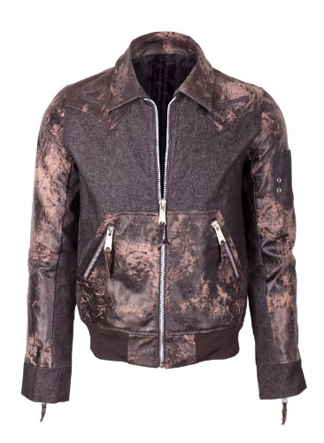 G Zap Men's Military Style Zip-Up Sporty Denim Leather Jacket