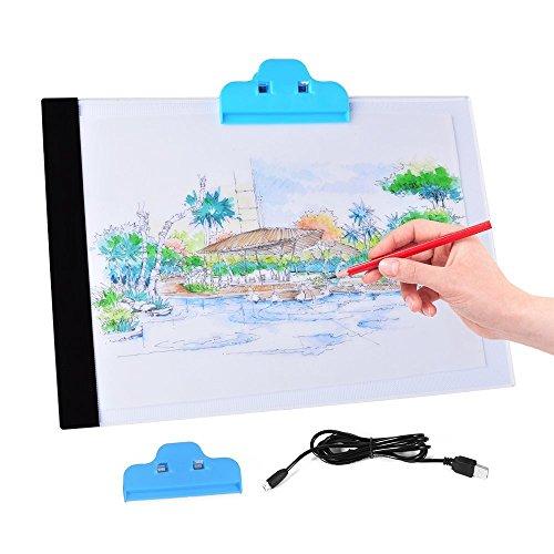 (JOJOO A4 LED Drawing Board Light Boxes Tracing Pad Panel Ultra-thin Portable Micro USB Powered Lightweight Artcraft Animation Drawing Stencil Pad Panel Illumination LT043)