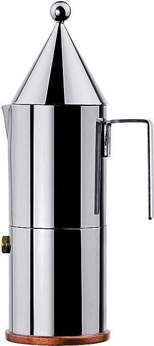 Alessi La conica 90002/6 Cafetera para Café Exprés de Diseño, Acero Inoxidable y Fondo en Cobre, Plateado, 3 Tazas: Amazon.es: Hogar