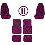 Dark Hot Pink Zebra Tiger Animal Print Front & Rear Seat Carpet Floor Mats w/ Front Car Truck SUV Universal-fit Bucket Seat Covers, Steering Wheel Cover and Seat Belt Pads - 9PC