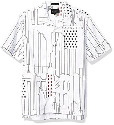 Sean John Men's Short Sleeve Printed Button Down Shirt