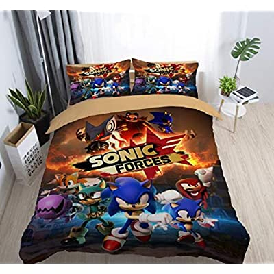 Paixide 3D Cartoon Duvet Cover Set Sonic The Hedgehog for Kids Teen Adult 2 Piece Bedding Set with 100% Microfiber, Twin: Home & Kitchen