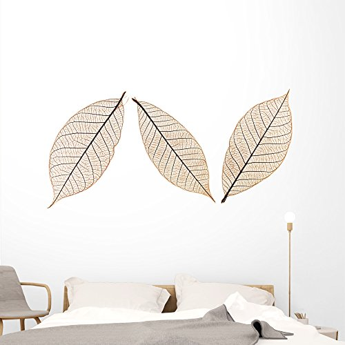 Wallmonkeys Three Leaves Wall Decal Sticker Set Individual Peel and Stick Graphics on a (72 in W x 48 in H) Sticker Sheet WM201270