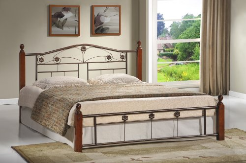 (Hodedah Complete Bronze Metal Bed with Headboard, Footboard, Slats and Rails in Queen Size)