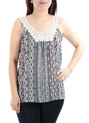 Miss Chievous New 1156 Black, White Striped Crochet Detail Top Juniors S B+B