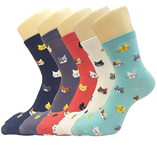 YSense 5 Pairs Womens Cute Funny Socks Casual Cotton Crew Animal Socks