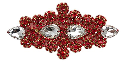 ModaTrims Hot-Fix Iron-On or Sew-On Crystal Rhinestone Applique (Clear Crystals, Red Rhinestones, Gold Cups, 6 inch x 3 inch - (Dance Costumes For Pageants)