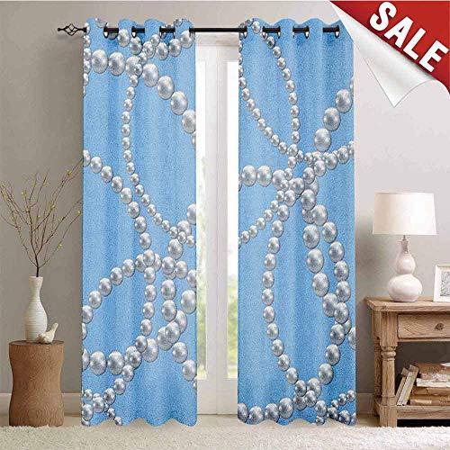 Hengshu Pearls Room Darkening Wide Curtains Pearl Necklace Bracelet Classic Women Bridal Groom Shower Theme Feminine Art Waterproof Window Curtain W84 x L84 Inch Baby Blue White