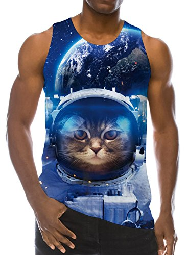 Loveternal Mens Tank Tops 3D Funny Astronaut Cat T-Shirt Summer Casual Stylish Workout Tees L
