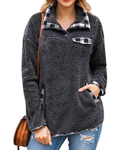 HEFASDM Mulheres engrossado bolsos patchwork Plus veludo Plaid pullover camisas Top Grey S