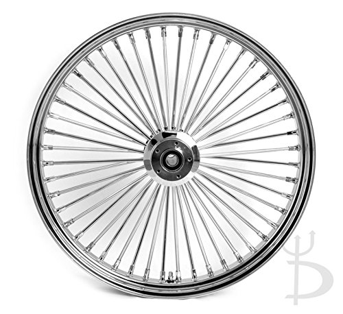 26 x 3.5 Chrome Mammoth 48 Fat Spokes Front Wheel for Harley-Davidson Single Disc