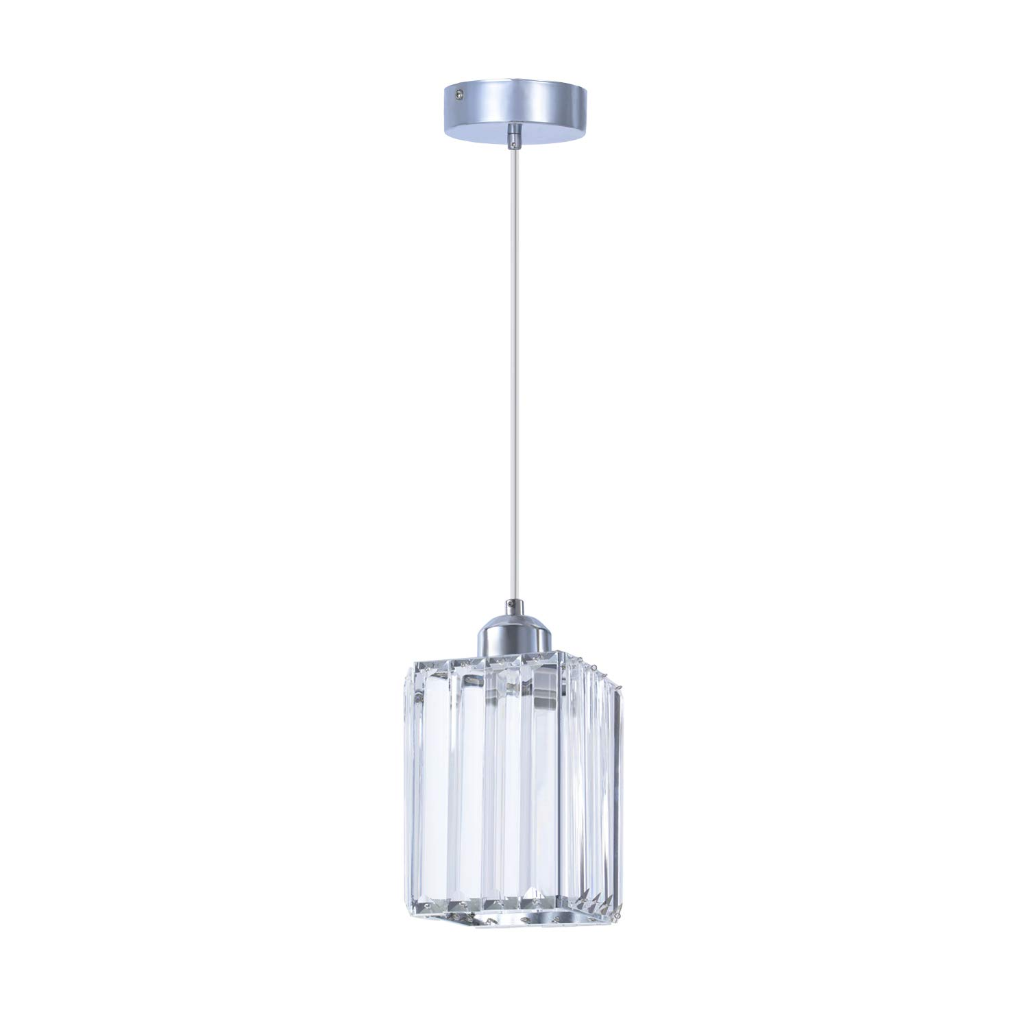 ShengQing Mini Crystal Pendant Light in Chrome Finish with Clear Crystal 1-Light Modern Square Shape Crystal Hang Light Fixture for Bar Kitchen Dining Room Bedroom Farmhouse, Adjustable Clear Cord by ShengQing