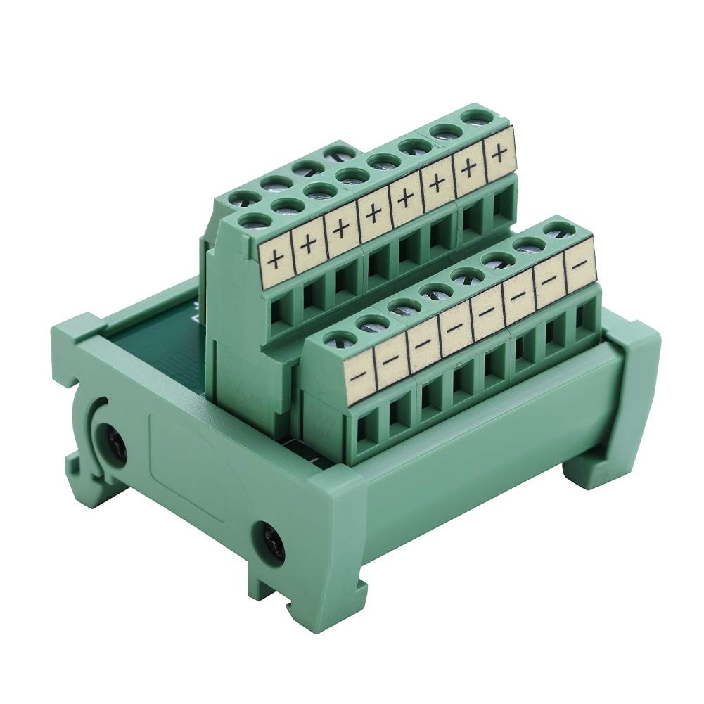 DIN Rail and Panel Mounting Power Distribution Breakout Board for PLC Power Amplifier ANMBEST 2 in 8 Out Terminal Blocks Module